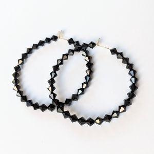 Jewelry - Black Swarovski Crystal Bead Hoop Earrings
